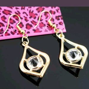 NEW Betsey Johnson Dangle Gold Rhinestone Earrings
